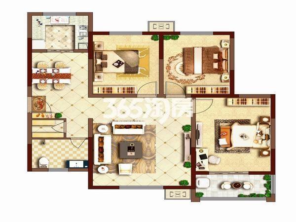 荣华碧水蓝庭三室两厅一厨一卫118平方米户型