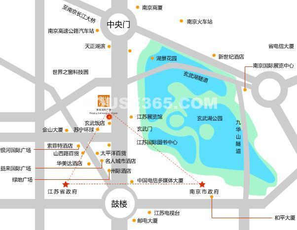 玄武湖金茂广场御景华府交通图
