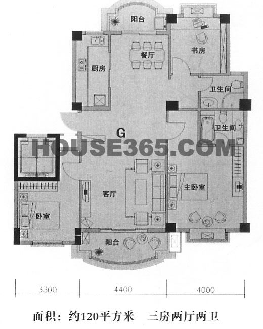 G型三房120平米