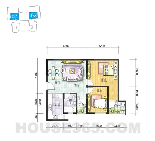J户型81.59㎡两房两厅