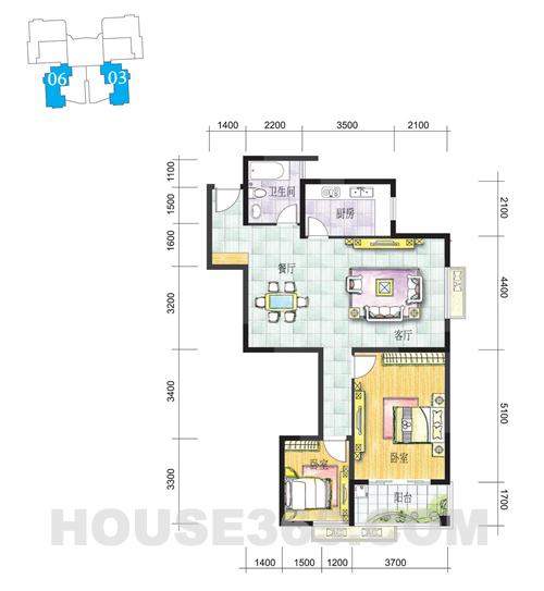 K户型105.97㎡两房两厅
