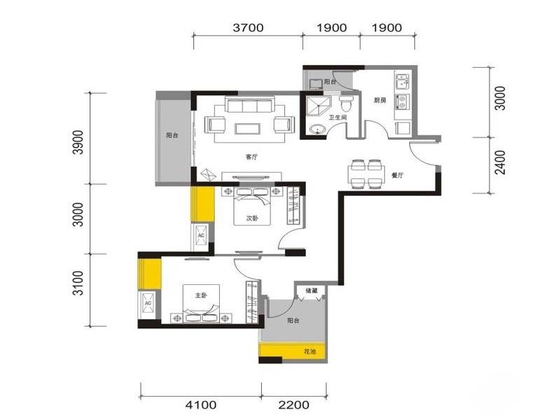 J户型  2室2厅1卫 82平米