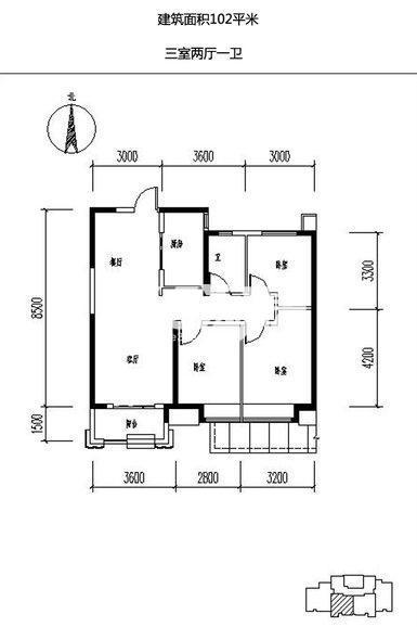 保利天悦3室2厅1卫1厨102.00㎡