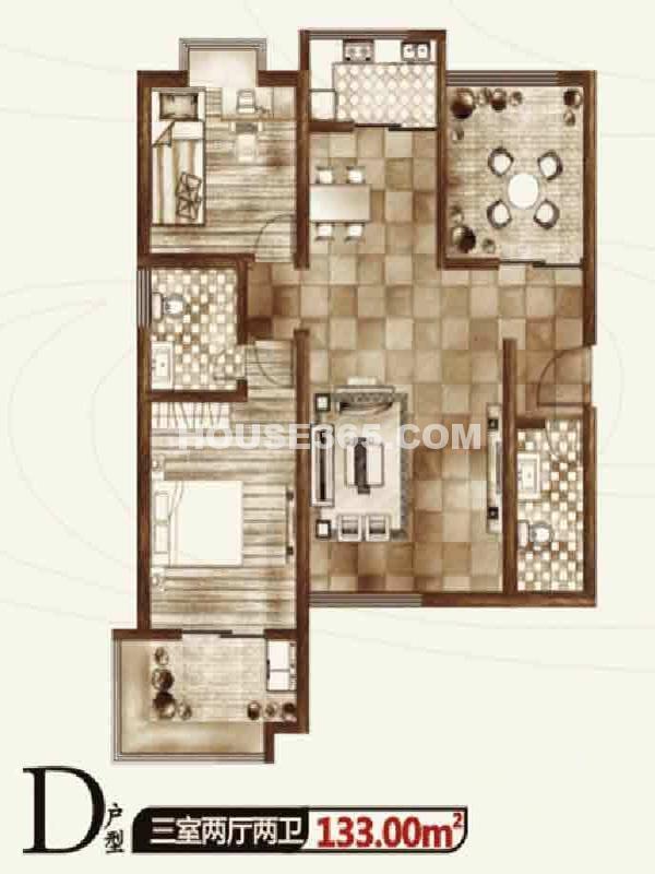 华宇凤凰城二期D户型三室两厅两卫133.00㎡