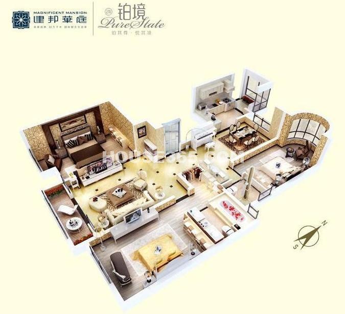 建邦华庭A户型图(3D)3室2厅2卫1厨 146.12㎡