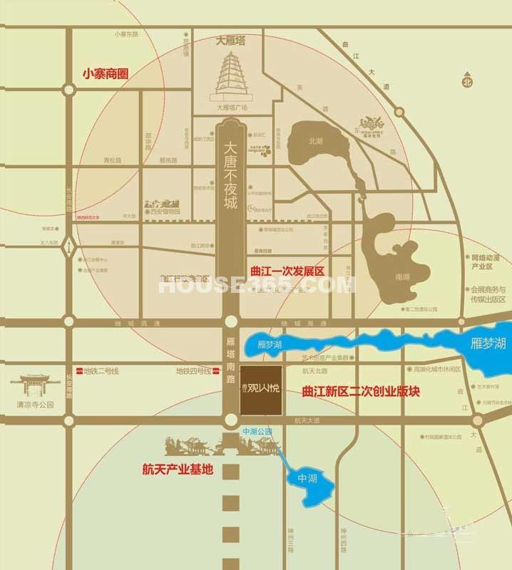 曲江观山悦交通图