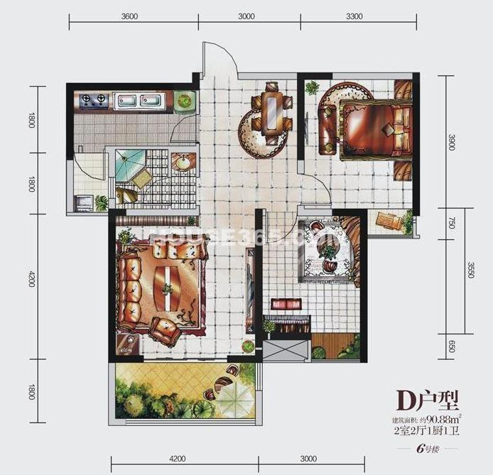 荣华北经城6#楼D户型2室2厅1厨1卫 90.88㎡