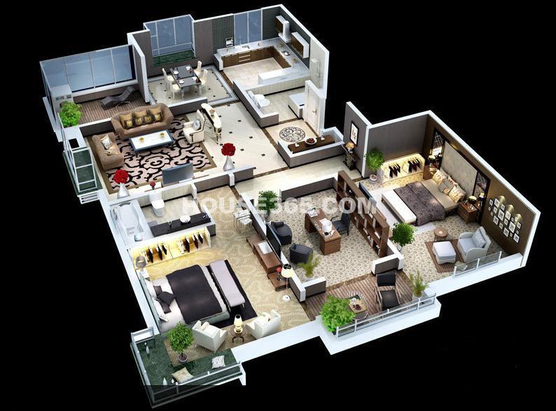 天朗蓝湖树7/8号楼 C3户型标准层3室2厅2卫1厨 143.00㎡