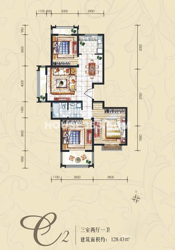 新一代北城国际C2户型3室2厅1卫1厨 128.43㎡