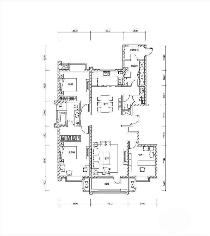曲江观山悦悦公馆户型图4室2厅2卫1厨 170.00㎡