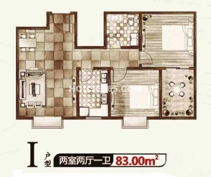 华宇凤凰城二期I户型2室2厅1卫1厨 83.00㎡