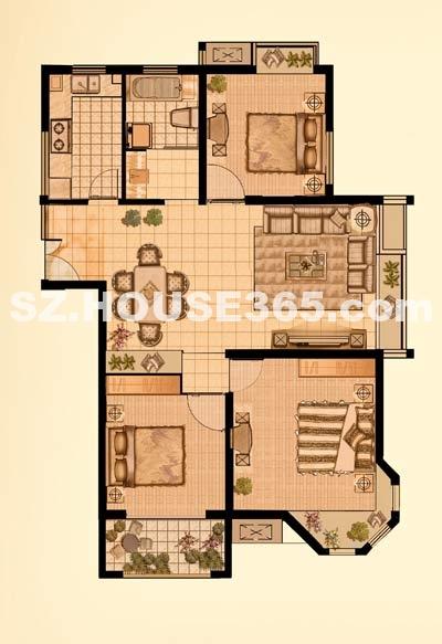 建筑面积预估120㎡ g户型 三房两厅一卫一厨