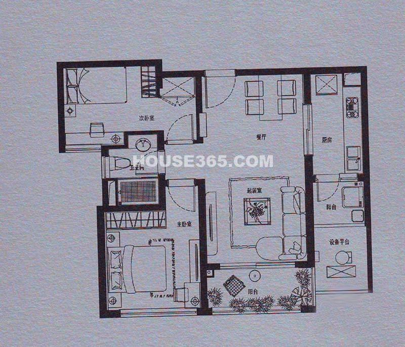 仁恒双湖湾 D2户型2室2厅1卫 85平