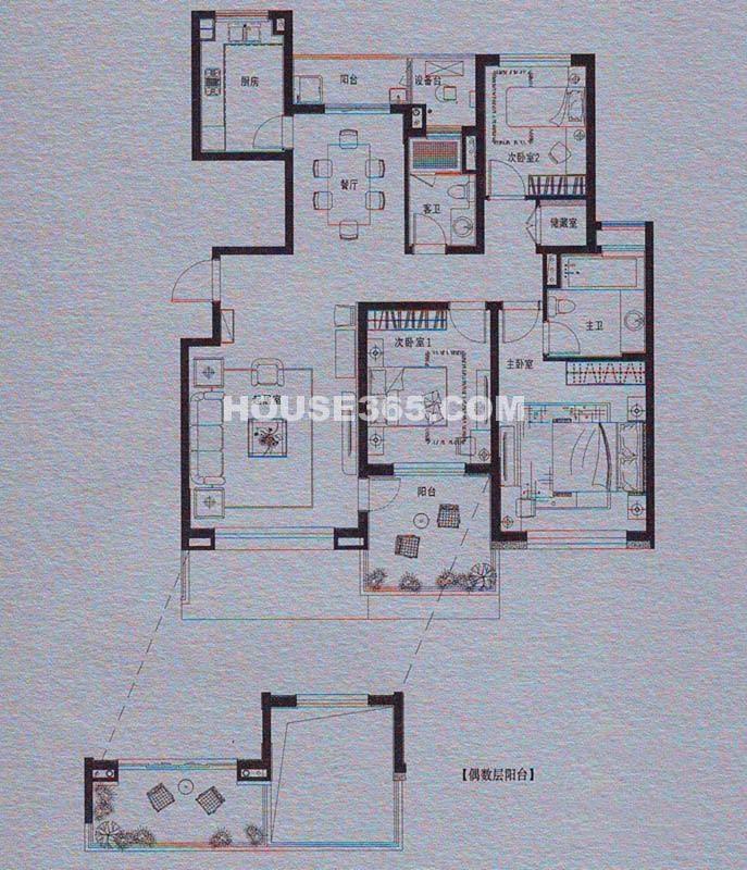 仁恒双湖湾 H3户型3室2厅2卫 140平
