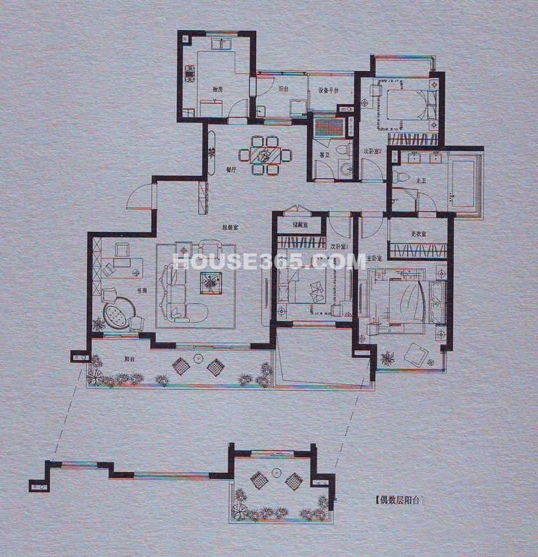 仁恒双湖湾 H4户型4室2厅2卫170平