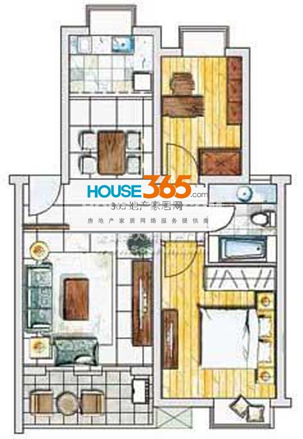 春申景城75.9平米户型 两房两厅一卫