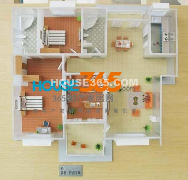 春申景城B3模型 三房两厅两卫 约129平米