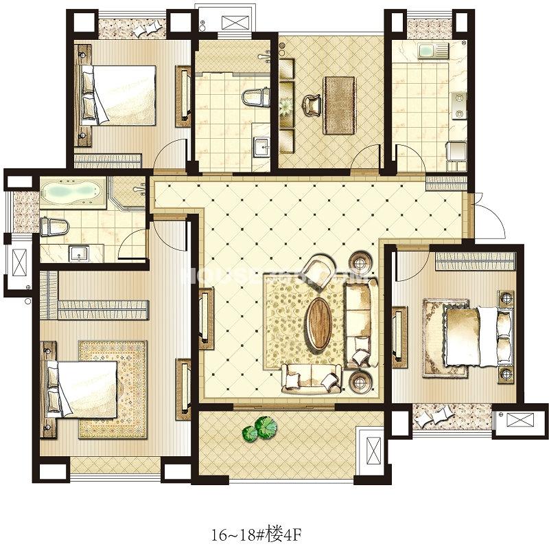 园著16-18#4FC4户型 3室2厅2卫