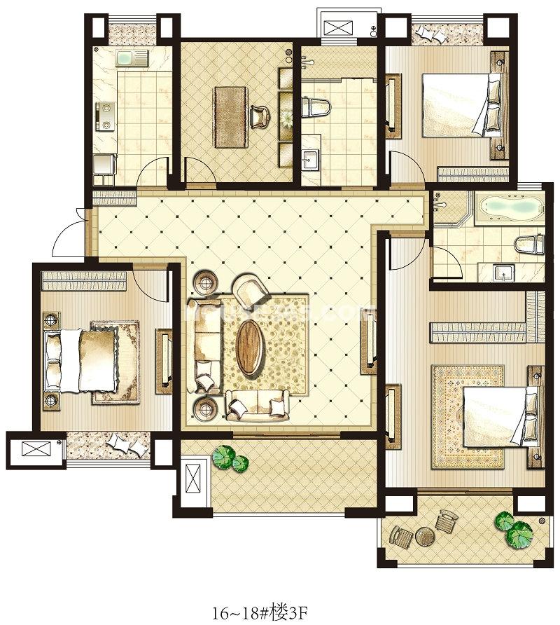 园著16-18#3FC3户型 3室2厅2卫