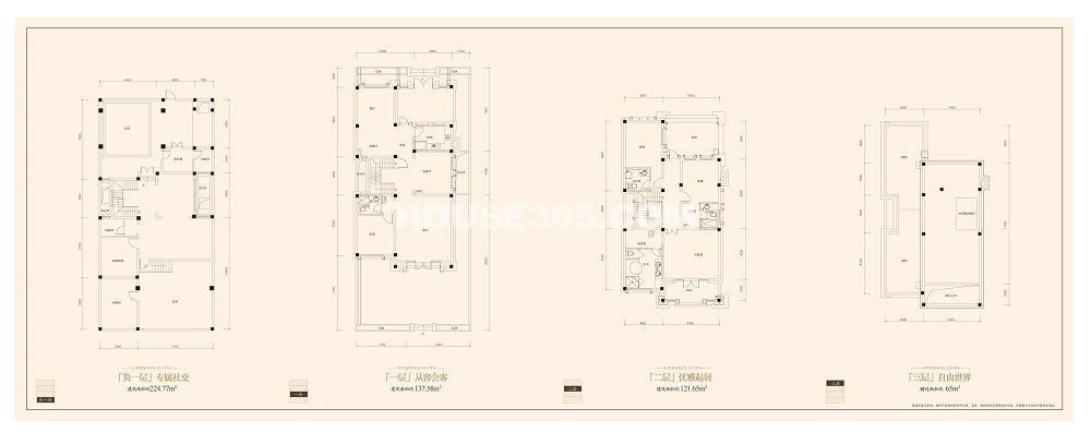 金科王府独栋别墅B2户型4室2厅4卫1厨 259.23㎡