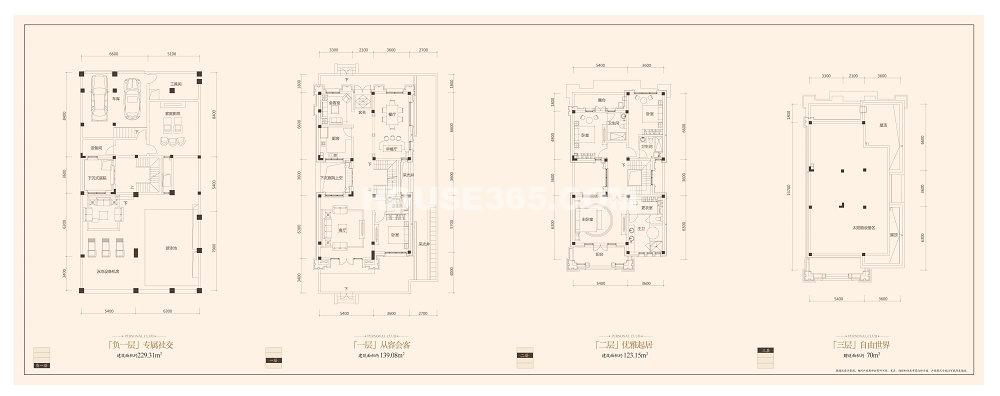 金科王府独栋别墅B1户型4室2厅4卫1厨 262.23㎡
