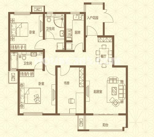 首开国风华府一期2、6#标准层G户型3室2厅2卫1厨120.00㎡