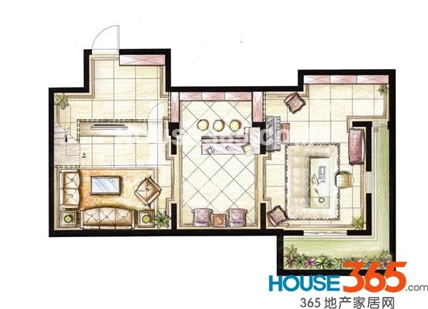 红鼎湾花园2-5号楼多层1层01室H户型地下层3室2厅2卫1厨79.00㎡