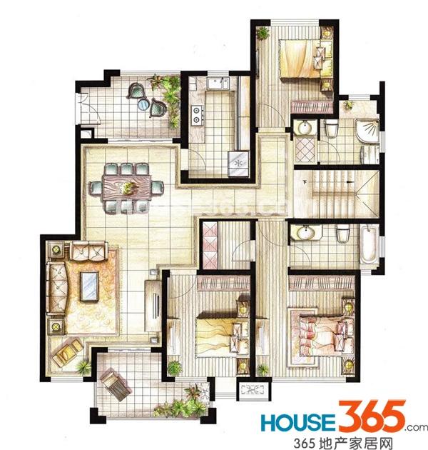 红鼎湾花园2-5号楼多层2层01室I户型3室2厅2卫1厨153.00㎡