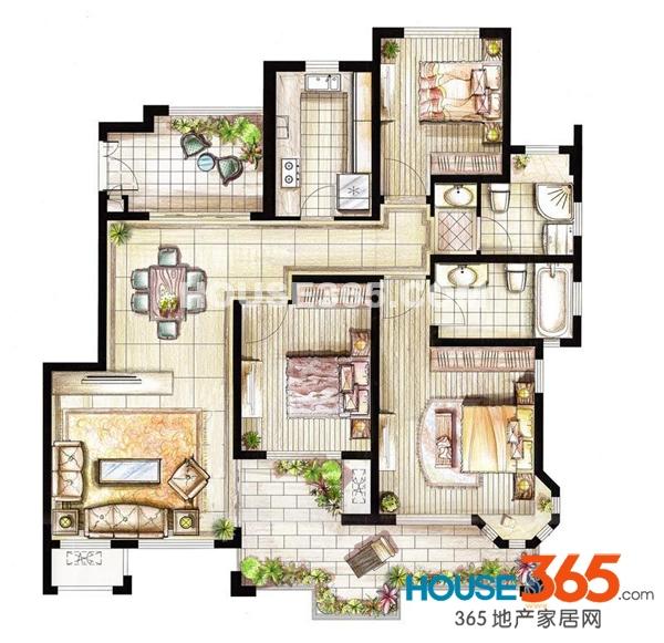 红鼎湾花园2-5号楼多层4层01室J户型3室2厅2卫1厨125.00㎡