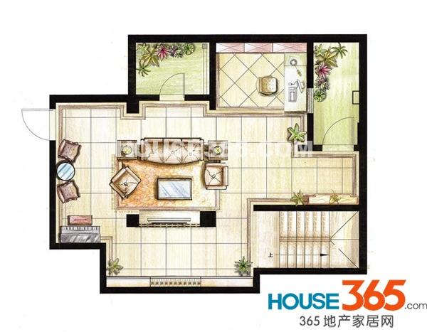 红鼎湾花园2-5号楼多层2层01室I户型地下层3室2厅2卫1厨68.00㎡