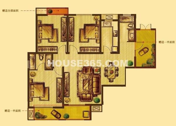 花好月圆标准层E户型3室2厅2卫1厨131.00㎡