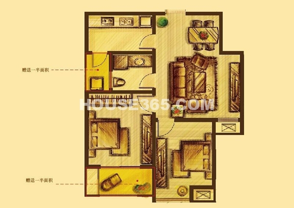 花好月圆标准层F户型 2室2厅1卫1厨80.00㎡