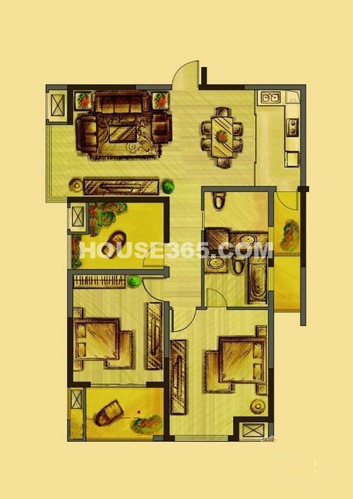 花好月圆7#、10#楼标准层M户型3室2厅2卫1厨 117.00㎡