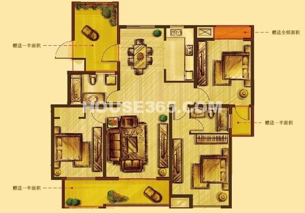 花好月圆标准层D2户型3室2厅2卫1厨133.00㎡