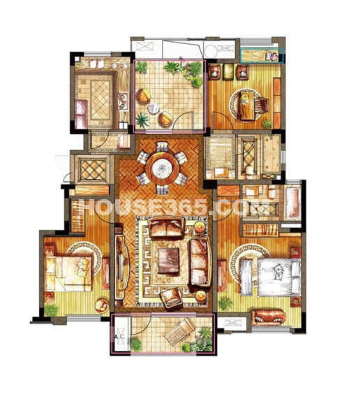 亿城天筑一期合墅2、3#标准层C户型3室2厅2卫1厨 131.00㎡