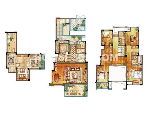 亿城天筑一期合墅2、3#标准层B户型4室2厅3卫1厨 204.00㎡
