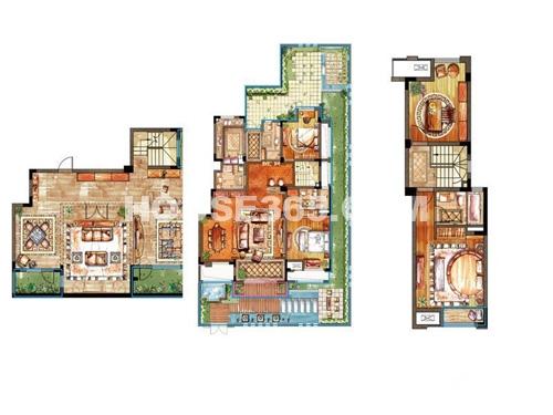 亿城天筑一期合墅2、3#标准层A户型4室2厅3卫1厨 194.00㎡