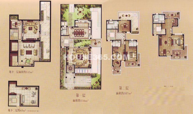TOP未来联排别墅B户型4室2厅5卫1厨 320.00㎡