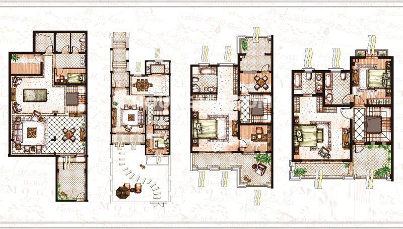 雅戈尔璞墅联排别墅B2户型4室2厅4卫386平