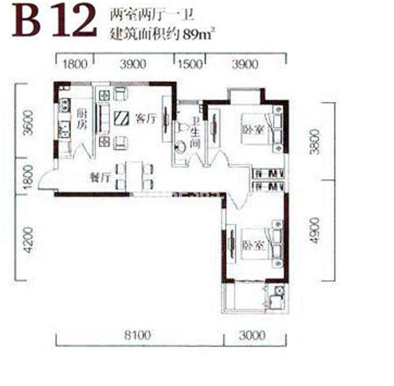金泰怡景花园B12户型图2室2厅1卫1厨89.00㎡