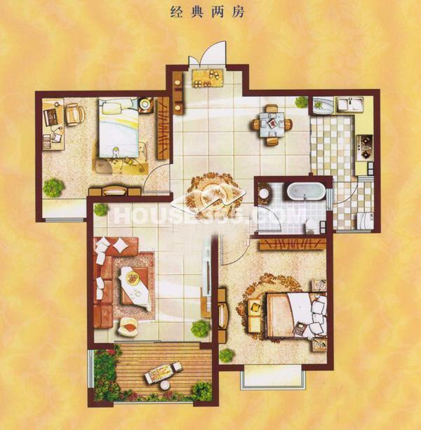 曲江6号户型图 两室两厅一卫 90㎡