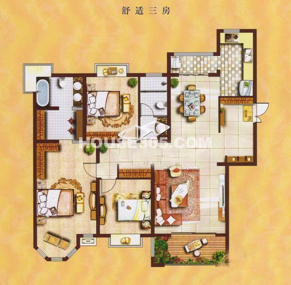 曲江6号户型图 三室两厅两卫 158㎡