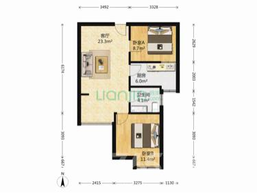 北江锦城2室1厅1卫69平米精装使用权房2012年建