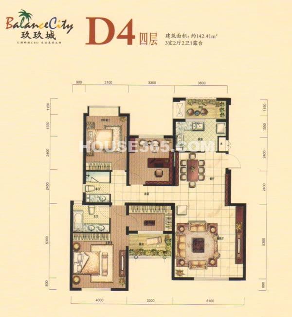 融科·玖玖城D4四层户型