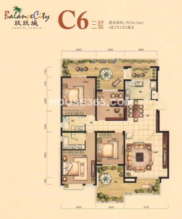 融科·玖玖城C6三层户型
