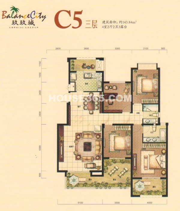 融科·玖玖城C5三层户型