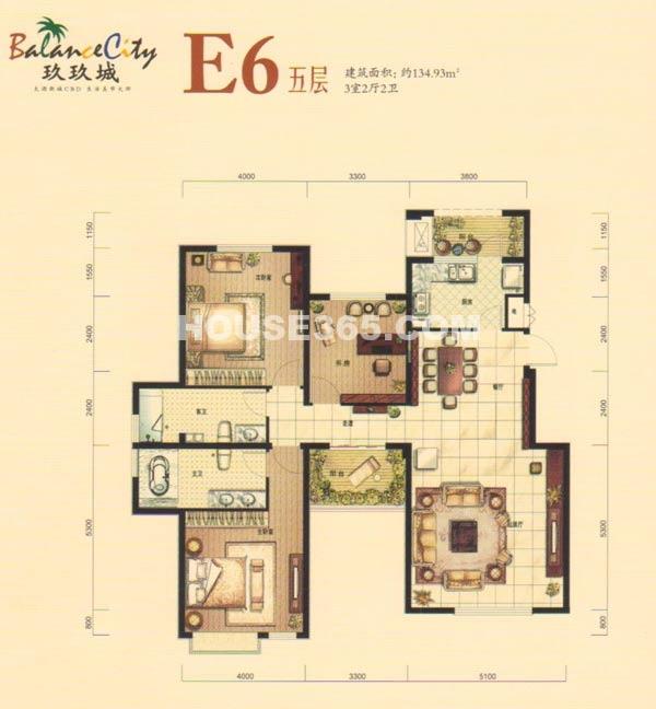 融科·玖玖城E6五层户型