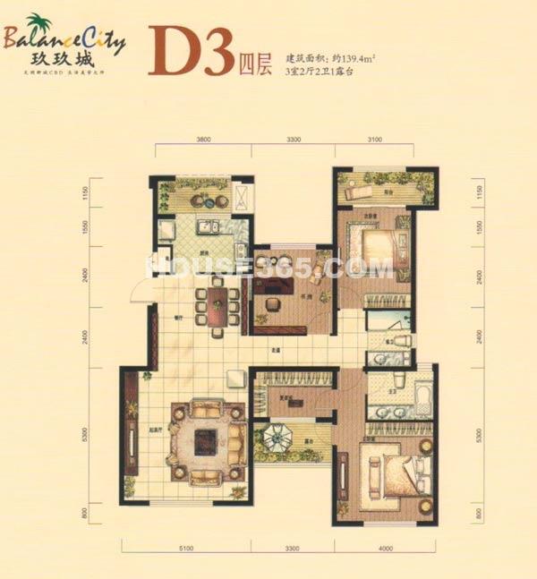 融科·玖玖城D3四层户型