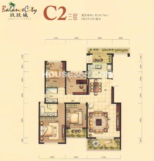 融科·玖玖城C2三层户型