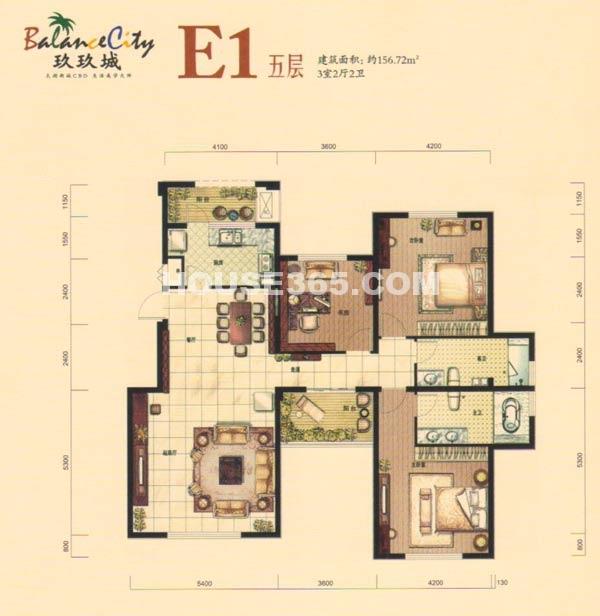融科·玖玖城E1五层户型